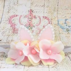 κορδελα μαλλιων με αυτάκια Cherry blossom  flowers