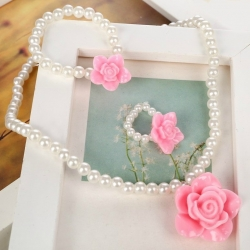Σετ White pearls with rose