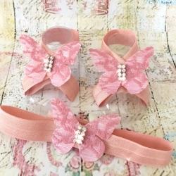 Σανδαλια με κορδελα Dusty pink lace