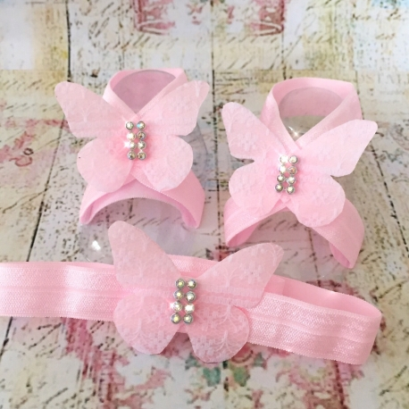 Σανδαλια με κορδελα Pink lace