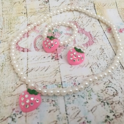 Σετ pearls with diamante Strawberry