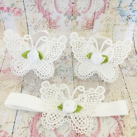 σανδαλια White butterfly white rose με κορδελα