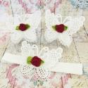 σανδαλια White butterfly burgundy rose με κορδελα