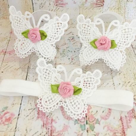 σανδαλια White butterfly dusty pink rose με κορδελα