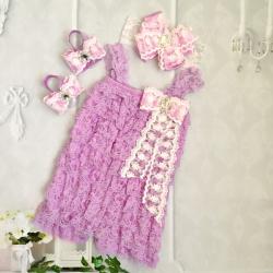 Premium lace romper set Lavender