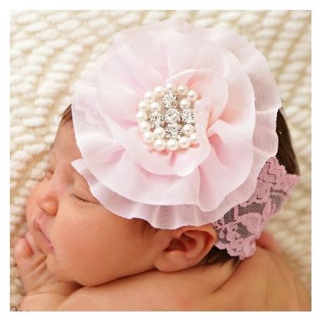 δαντελωτη κορδελα Baby pink with pearls