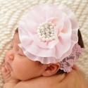 Δαντελωτη κορδέλα μαλλιών Baby pink with pearls