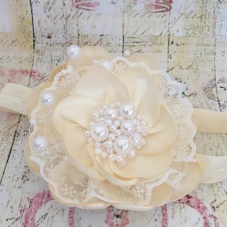 κορδελα βαπτισης Cream flower