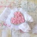 Κορδέλα βάπτισης Dusty Pink rosette heart