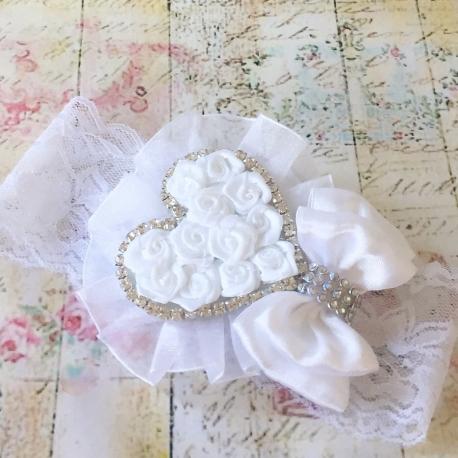 κορδελα βαπτισης White rosette heart