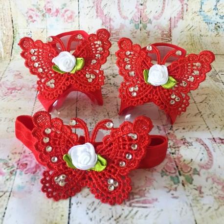 σανδαλια Red butterfly με κορδελα