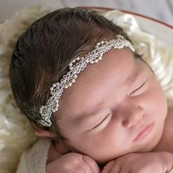 Κορδέλα μαλλιών στεφανάκι Ivory Lace and Pearls