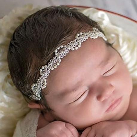 κορδελα στεφανακι Ivory Lace and Pearls