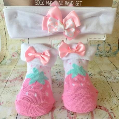 Καλτσακια με κορδελα Strawberry pink