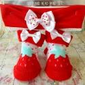 Καλτσακια με κορδελα Strawberry red