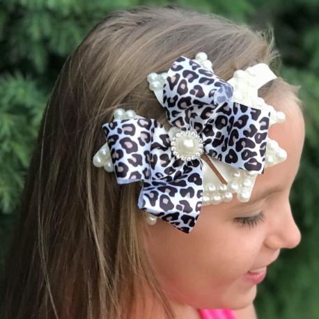 κορδελα μαλλιων Leopard bow with pearls