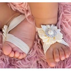 Βαπτιστικά βρεφικά σανδάλια Diamante flower