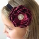 Κορδέλα μαλλιών Burgundy rhinestone flower