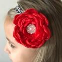 κορδέλα μαλλιών Red & leopard flower 2