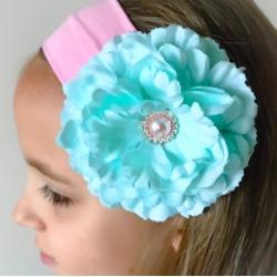 Κορδέλα μαλλιών pink with aqua Flower