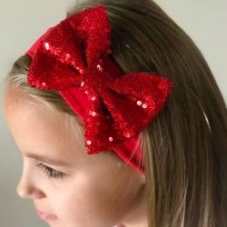 Κορδέλα μαλλιών κόκκινο φιόγκο με Glitter
