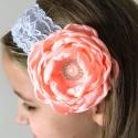 Κορδέλα μαλλιών Peach rhinestone flower