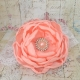Κορδελα μαλλιων Peach rhinestone flower