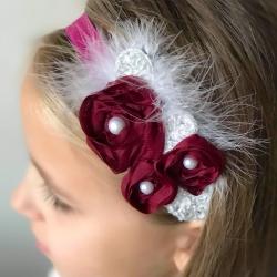 κορδέλα μαλλιών Burgundy roses with silver leaves με φτερά