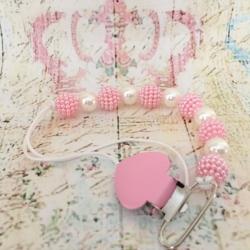 Πιάστρα πιπίλας με ροζ και λευκές πέρλες