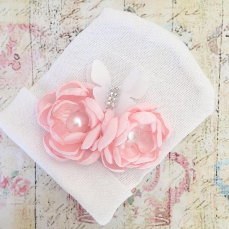 3191bf0359e Σκουφάκι για μωρό Light pink bouquet. Loading zoom