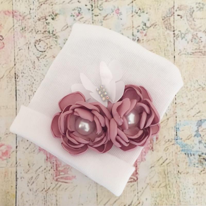 23a2cf2768af Σκουφάκι για μωρό Dusty pink bouquet. Loading zoom