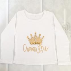 Μπλουζάκι γενεθλίων με κορώνα λευκό