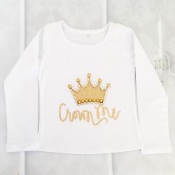 Μπλουζάκι για κορίτσι με κορώνα λευκό