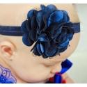 κορδέλα μαλλιών Navy blue satin tulle flower