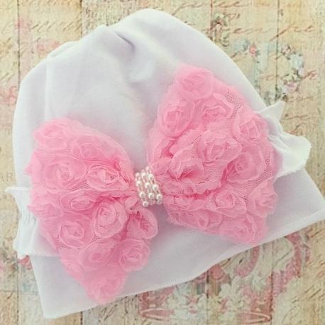 σκουφακι White with rosette bow
