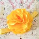 κορδέλα μαλλιών Yellow satin tulle flower