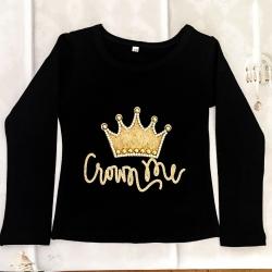 Μπλουζάκι για κορίτσι με κορώνα μαύρο