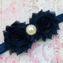 """Κορδελα """"shabby navy blue roses"""""""