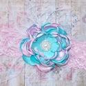 """κορδελα """"Αqua&Pink"""" vintage flower"""