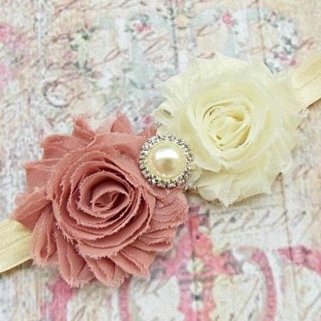 """Κορδελα """"Cream & dust pink roses"""""""