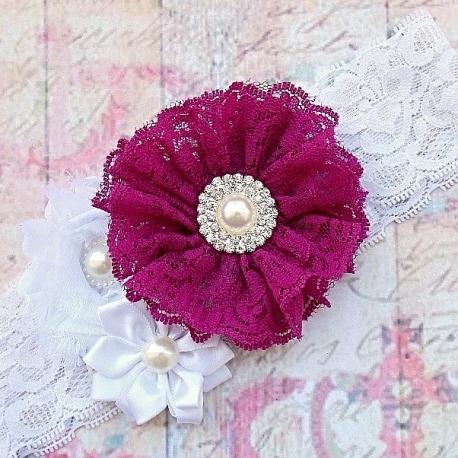 """κορδελα μαλλιων """" Plum lace bouquet"""""""