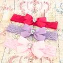 """κορδέλες μαλλιών diamante satin bow"""" 2"""