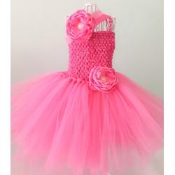 Φόρεμα tutu Rose Pink με κορδέλα