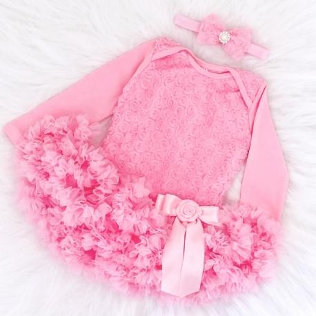 """Φορμάκι Tutu """" Pink rosette"""" με κορδελα"""