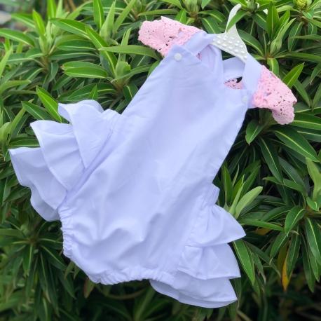 Βρεφικο κορμακι με ροζ δαντελα