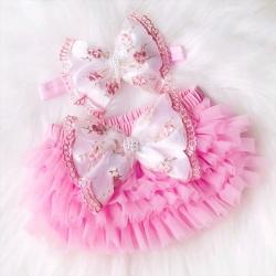 Κάλυμμα πάνας Luxury Pink με κορδέλα