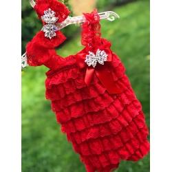 Oλόσωμο κόκκινο φορμάκι με κορδέλα Crystals