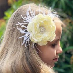 κορδέλα μαλλιών Cream rhinestone flower