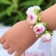 Στεφανάκι βάπτισης ροζ τριαντάφυλλα με πέρλες