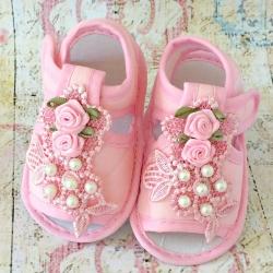 βρεφικά σανδάλια αγκαλιάς για κορίτσι pink rose